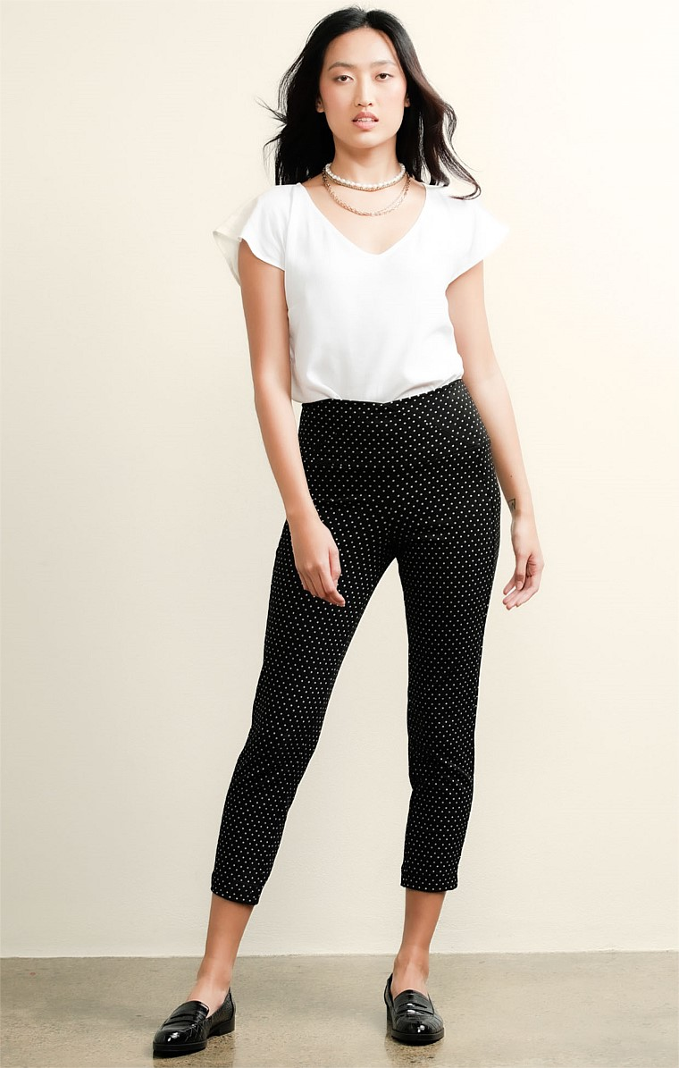 AURORA PULL ON HIGH WAIST CIGARETTE STRETCH PANT IN BLACK WHITE SPOT