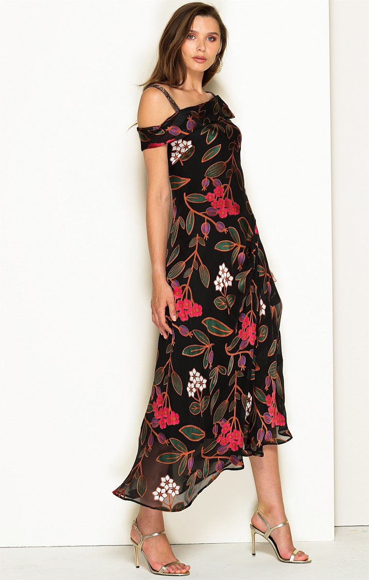 MADAME BUTTERFLY ASYMMETRIC NECK SILK A-LINE MIDI DRESS IN ORIENTAL FLORAL