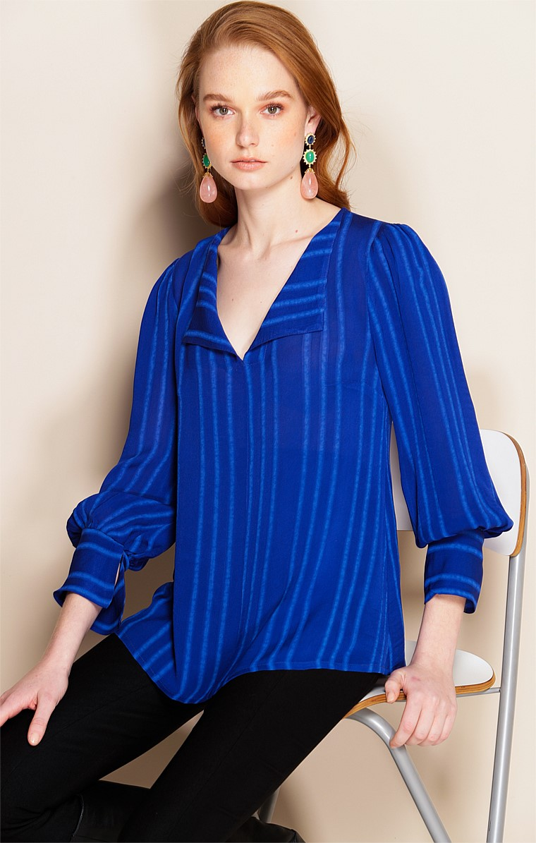 CONSERVATORY LOOSE-FIT LONG SLEEVE V-NECK TOP IN ROYAL