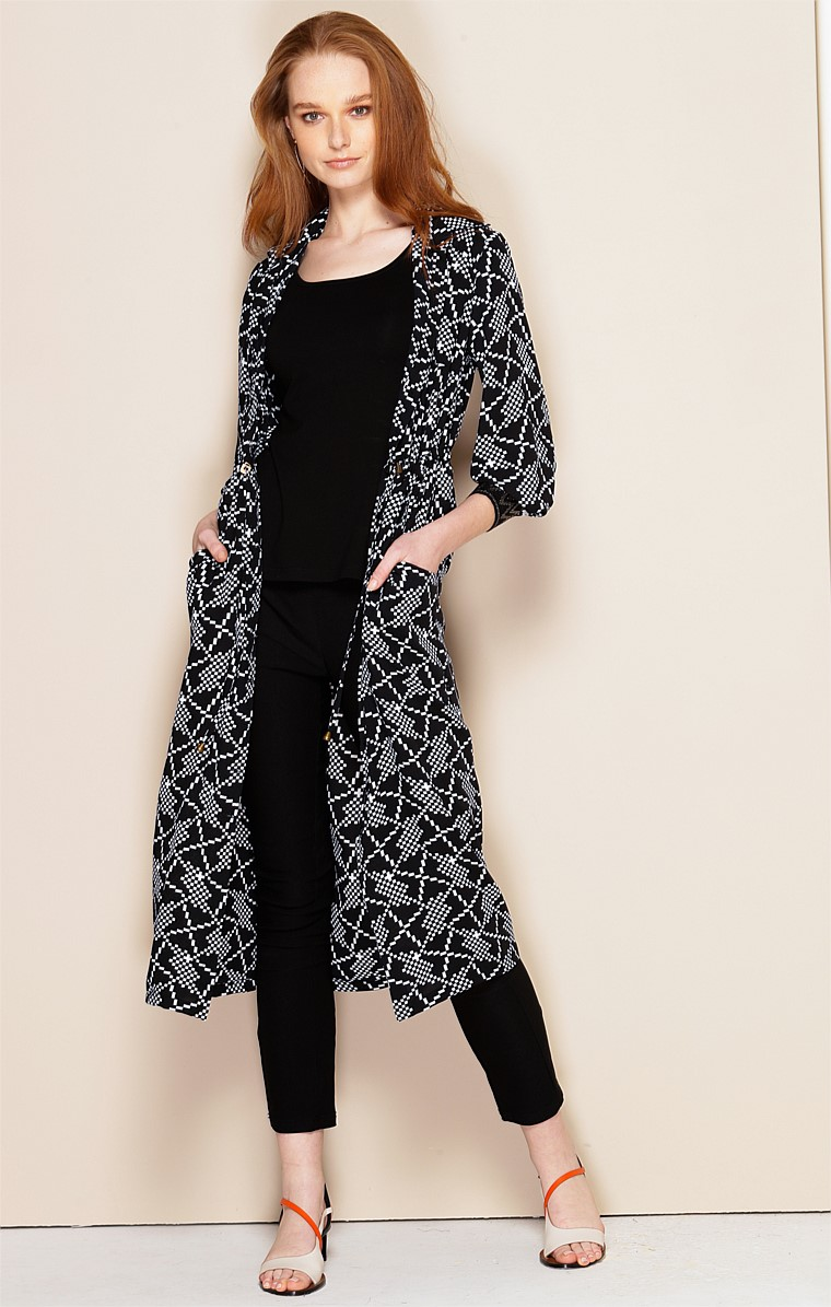 TULLIO BUTTON DOWN LOOSE FIT SHIRTMAKER DRESS IN BLACK WHITE GEO PRINT