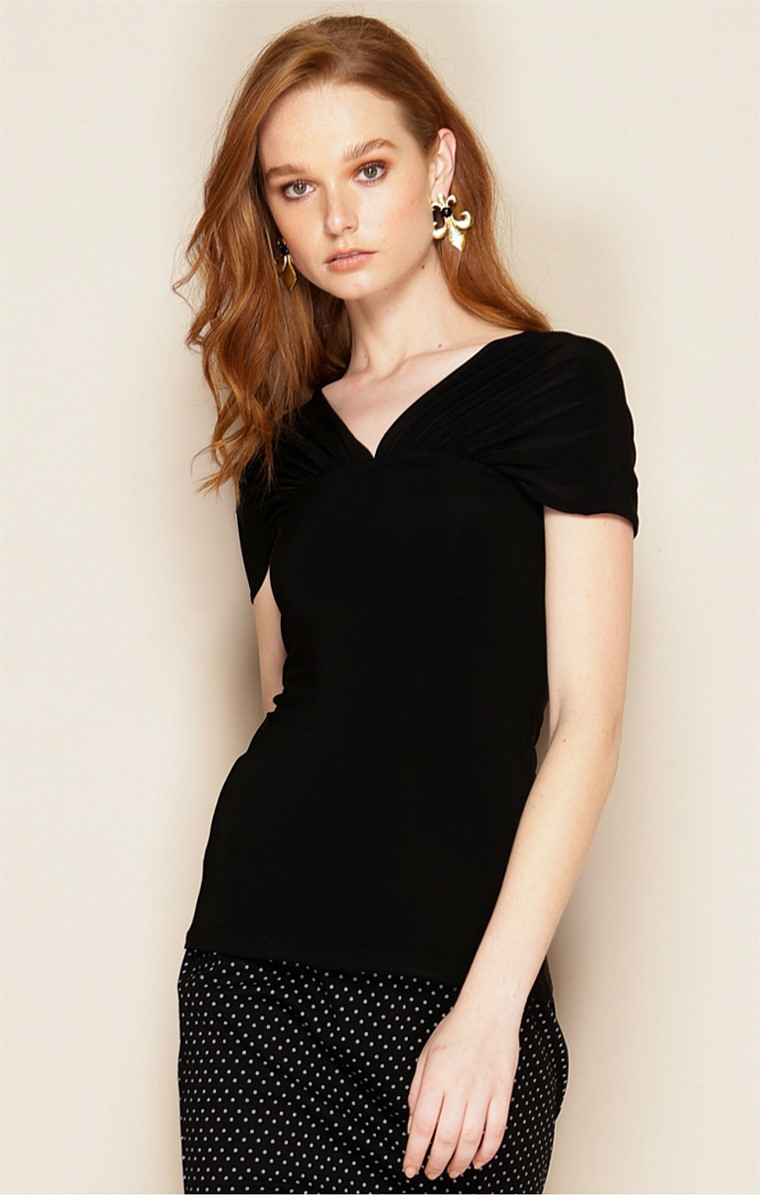 V-NECK OFF THE SHOULDER STRETCH JERSEY CAP SLEEVE TOP IN BLACK
