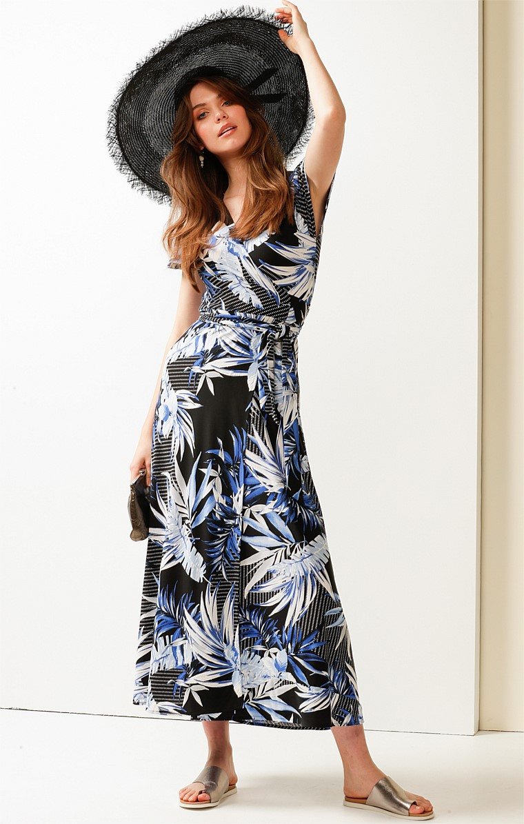 BOKISSA STRETCH JERSEY V-NECK CAP SLEEVE MAXI WRAP DRESS IN BLUE PALM PRINT