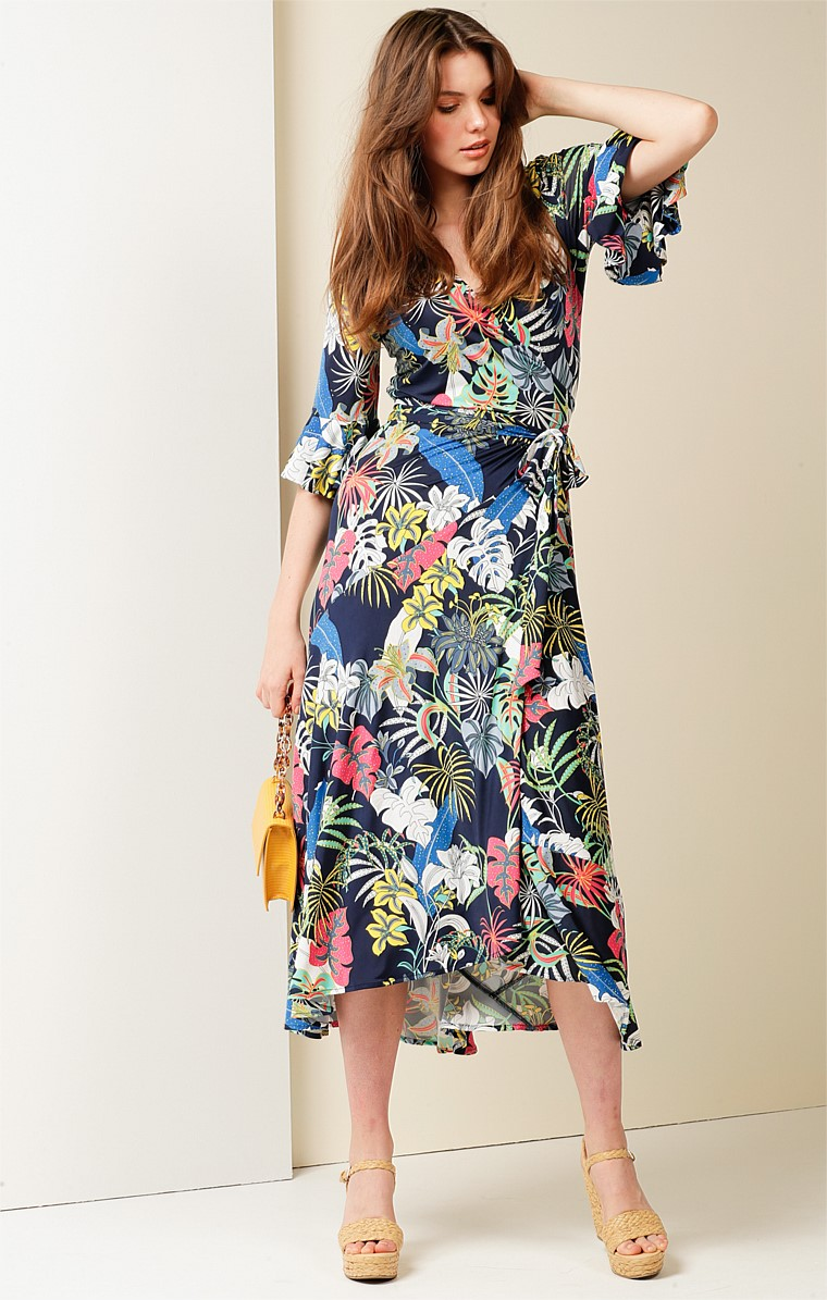 BAHAMAS STRETCH JERSEY V-NECK A-LINE MIDI WRAP DRESS IN NAVY TROPICAL PRINT