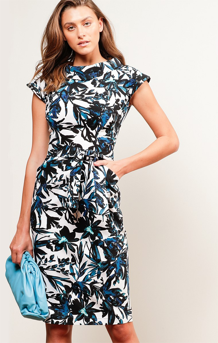 PAVILLION HIGH NECK CAP SLEEVE KNEE-LENGTH DRESS IN NAVY WHITE FLORAL PRINT