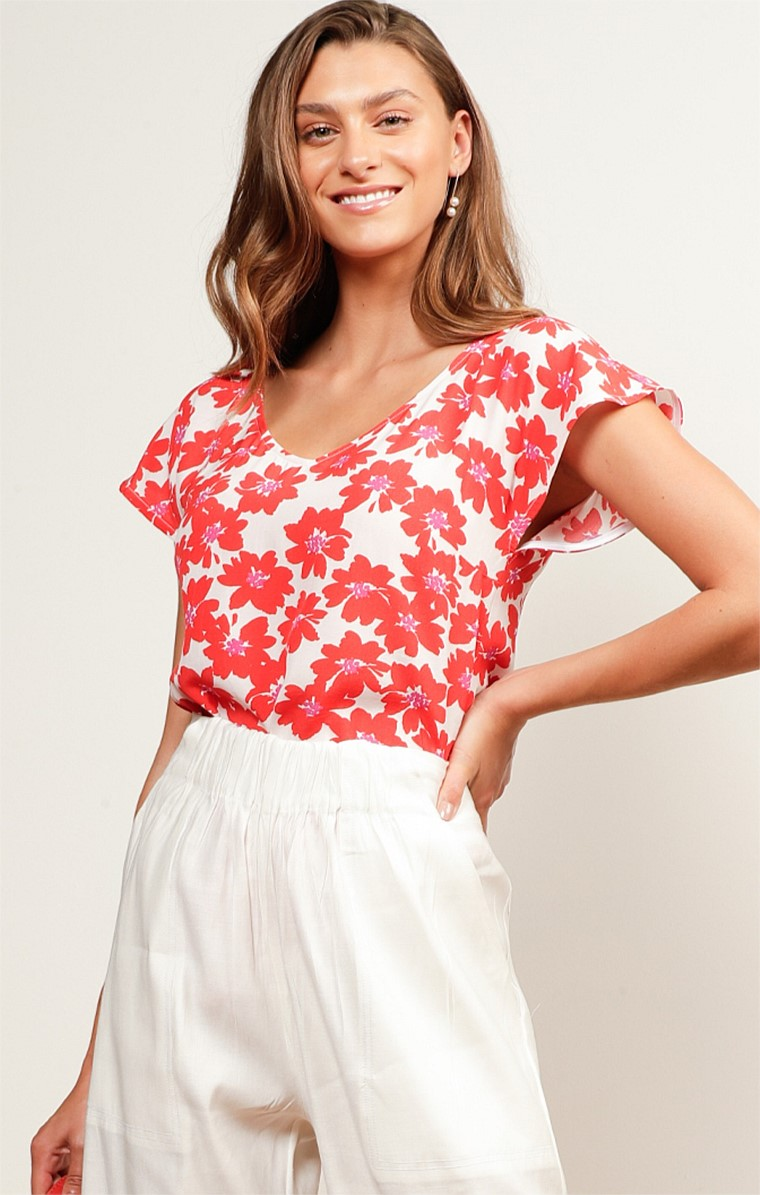 MIAH LOOSE FIT CAP SLEEVE V-NECK REVERSIBLE TOP IN RED WHITE FLOWER PRINT