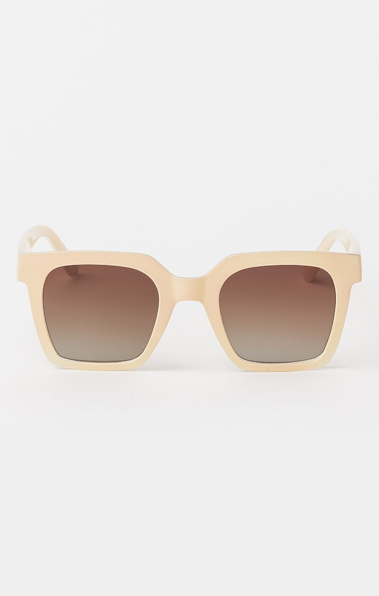 MILAN SUNGLASS IN TRANSLUCENT BEIGE