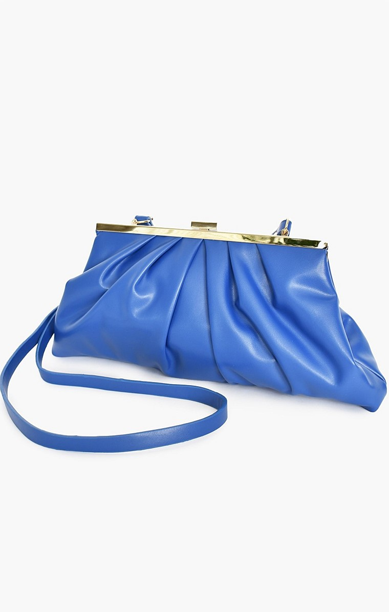PLEATED FRONT CLUTCH BAG WITH STRAP IN COBALT