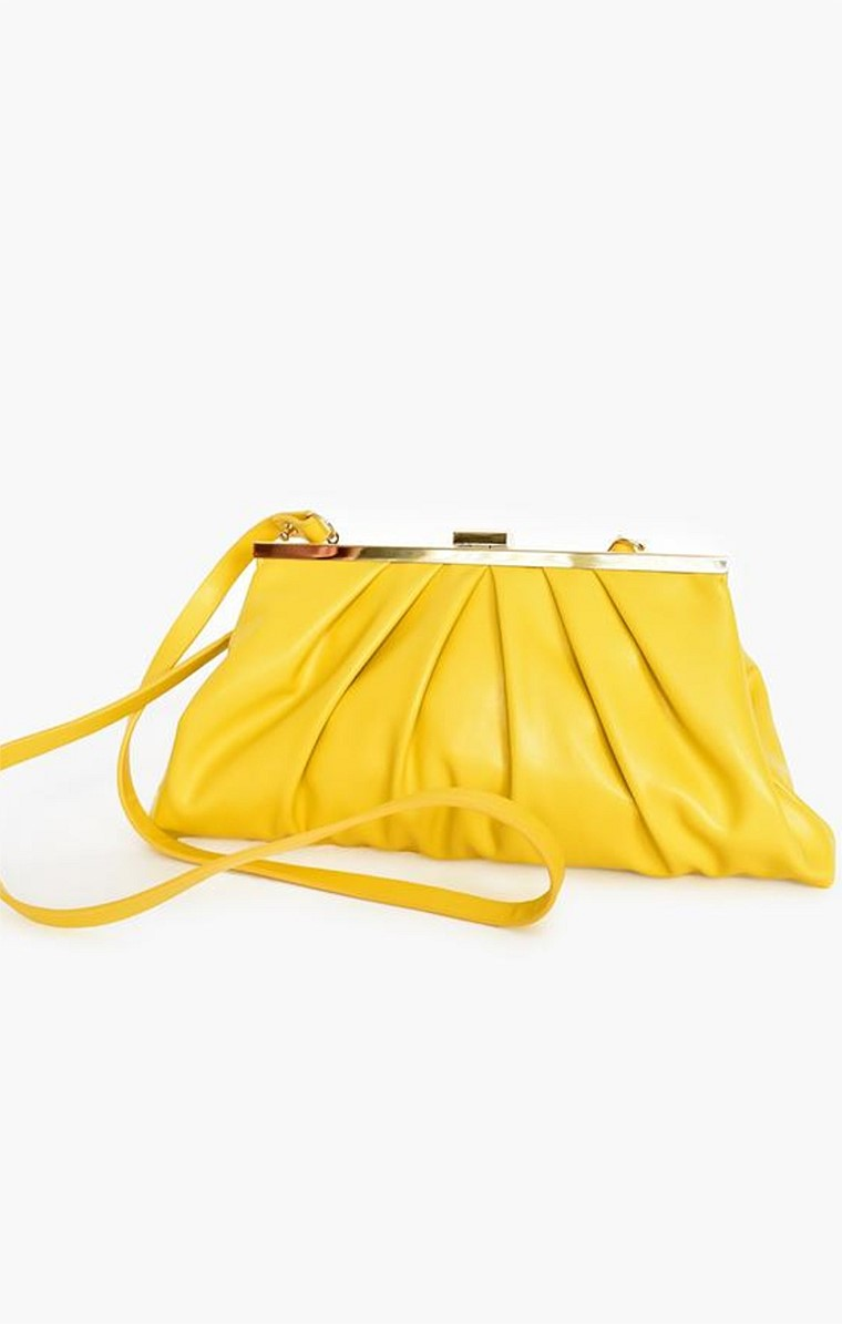 PLEATED FRONT CLUTCH BAG WITH STRAP IN YELLOW