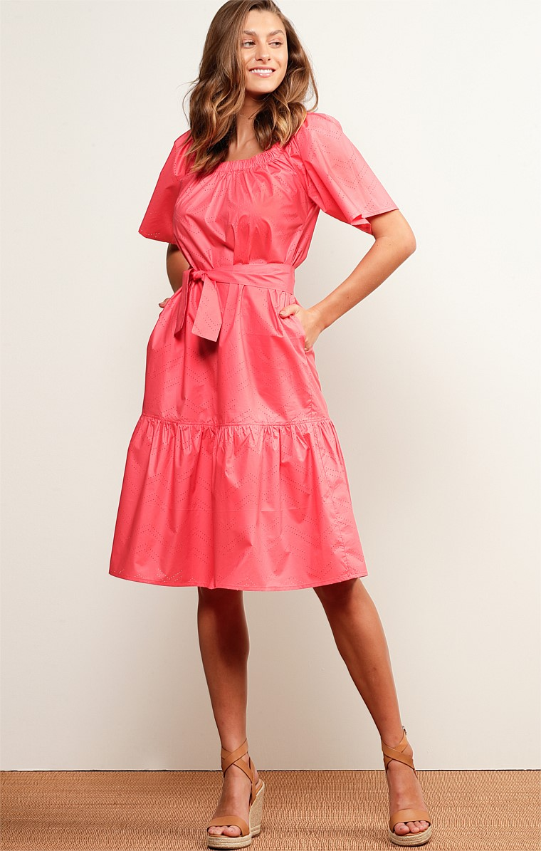 FRASER ISLAND OFF THE SHOULDER A-LINE KNEE-LENGTH DRESS IN WATERMELON
