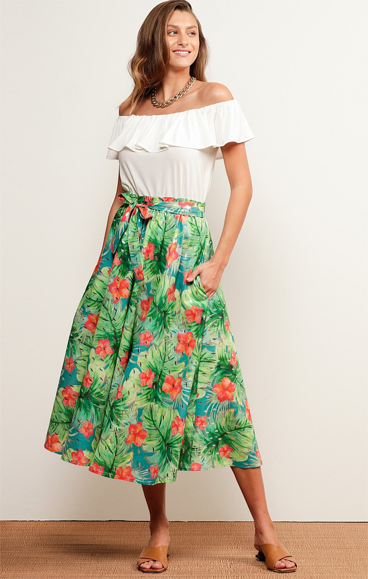 SUNSHINE BEACH COTTON VOILE HIGH WAIST A-LINE MIDI SKIRT IN HIBISCUS SILVER FOIL PRINT