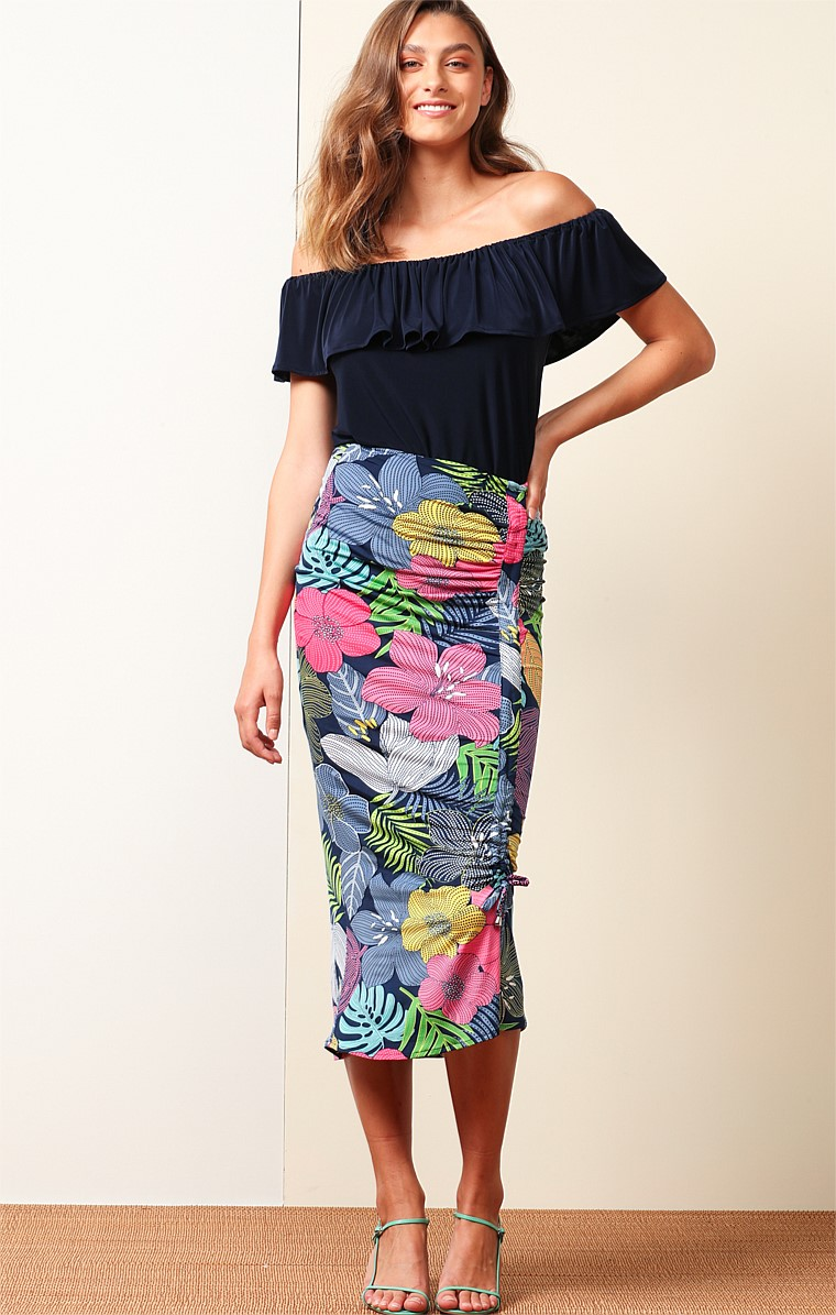 YEPPOON STRETCH JERSEY FITTED ADJUSTABLE MIDI SKIRT IN BOLD FLORAL NAVY PINK PRINT