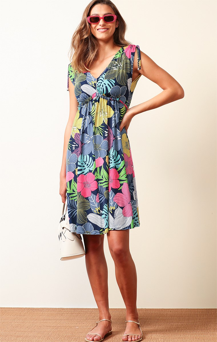 ROSSLYN BAY STRETCH JERSEY V-NECK CAP SLEEVE KNEE LENGTH A-LINE DRESS IN BOLD FLORAL NAVY PINK PRINT