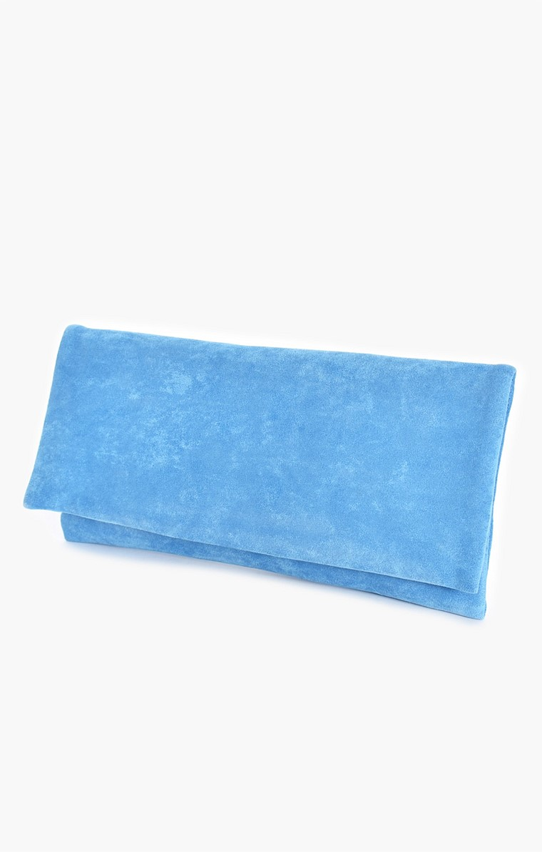 MICRO SUEDE FOLD OVER CLUTCH IN BLUE