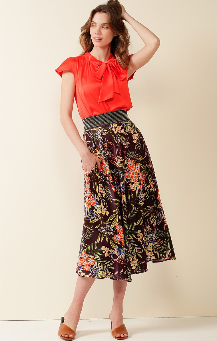ROMA ST PARK ELASTICATED WAIST A-LINE MIDI SKIRT IN AUBERGINE ORANGE FLORAL