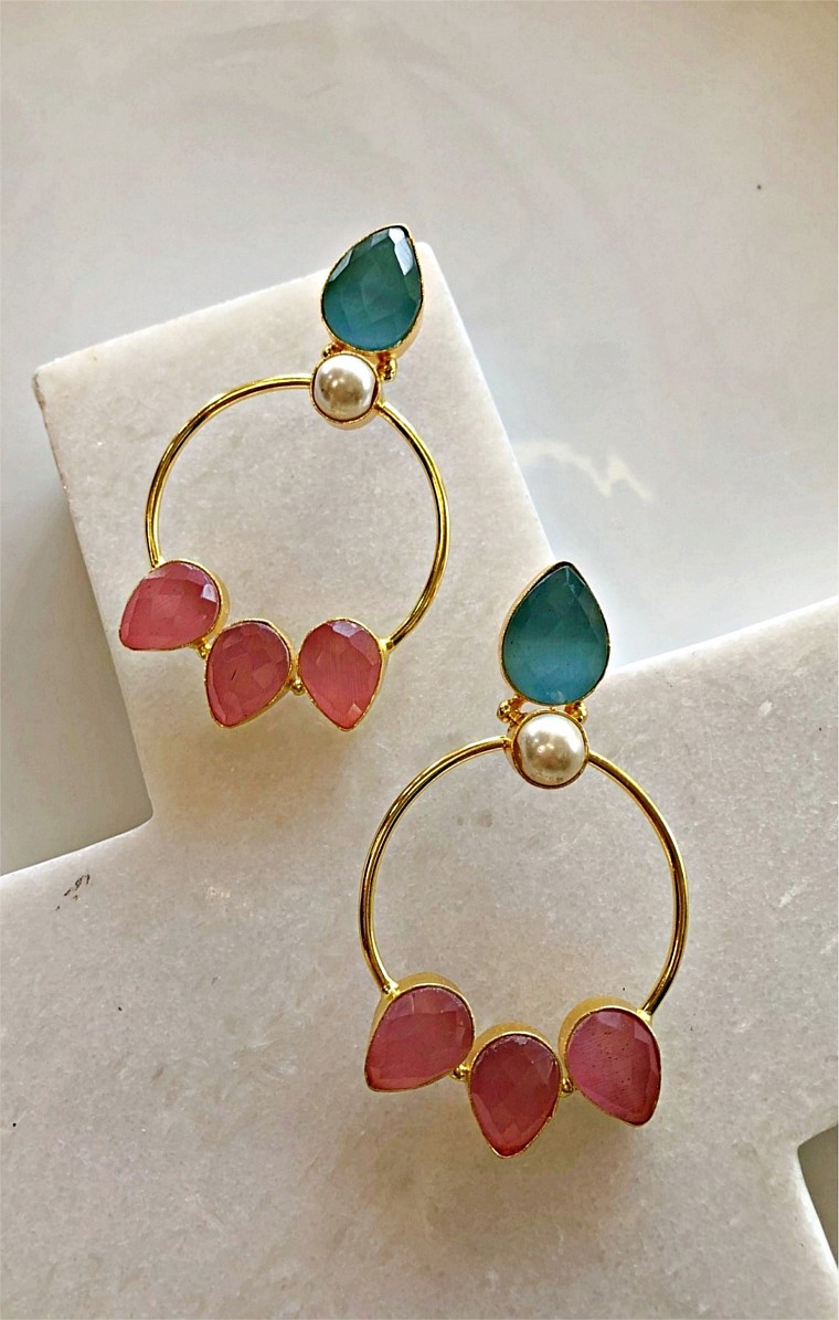 JENNA HOOP EARRING IN PINK GREEN