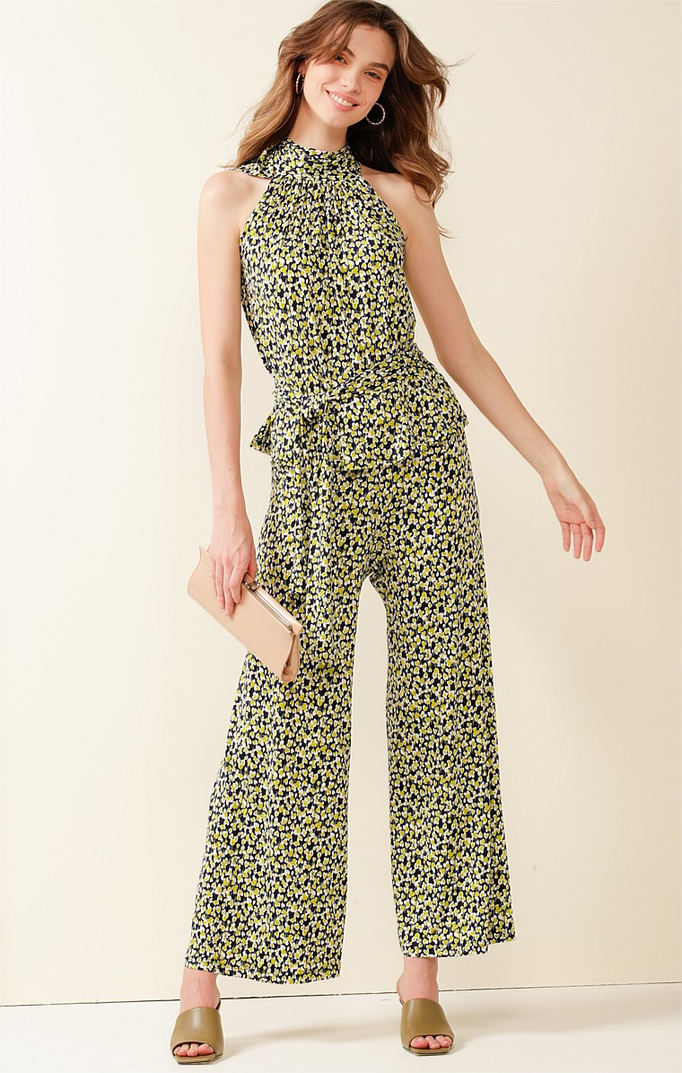NEW FARM PARK STRETCH JERSEY WIDE LEG PANT IN NAVY LIME MINI FLORAL PRINT
