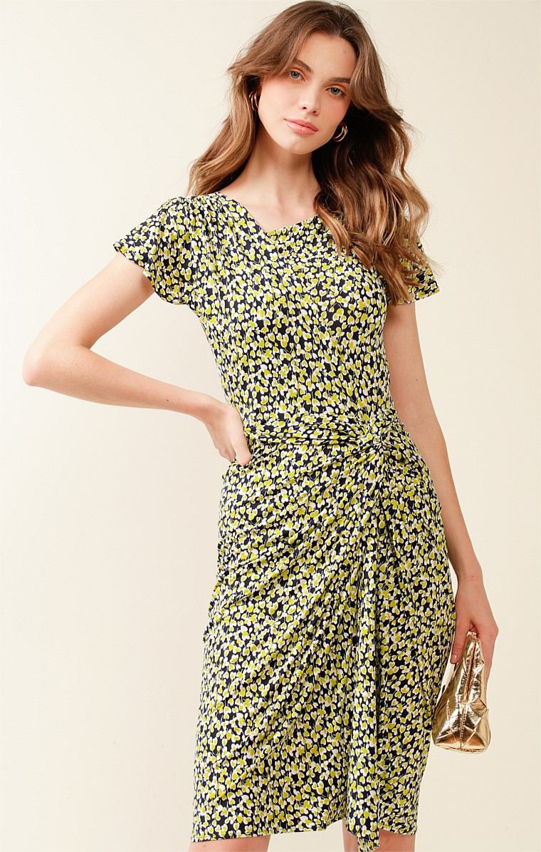 VICTORIA PARK STRETCH JERSEY FITTED CAP SLEEVE KNEE LENGTH DRESS IN NAVY LIME MINI FLORAL PRINT