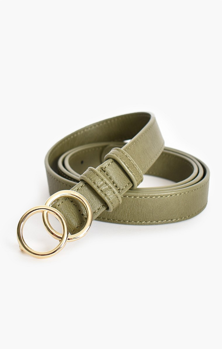 DOUBLE GOLD RING SMALL PLAIN VEGAN LEATHER BELT IN KHAKI
