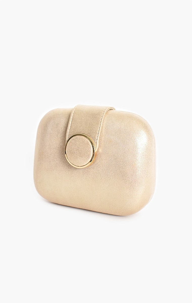 CIRCLE CLASP STRUCTURED CLUTCH IN GOLD