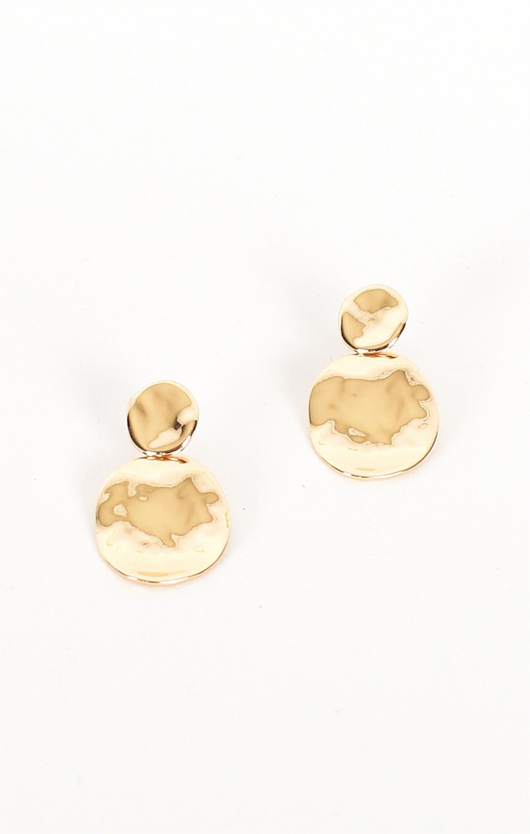 LAYERED OVAL DROP EARRING IN GOLD