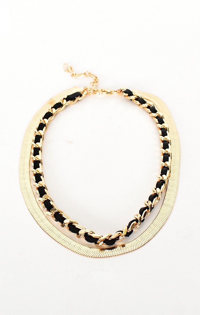 LEATHER CHAIN LAYERED NECKLACE IN BLACK GOLD