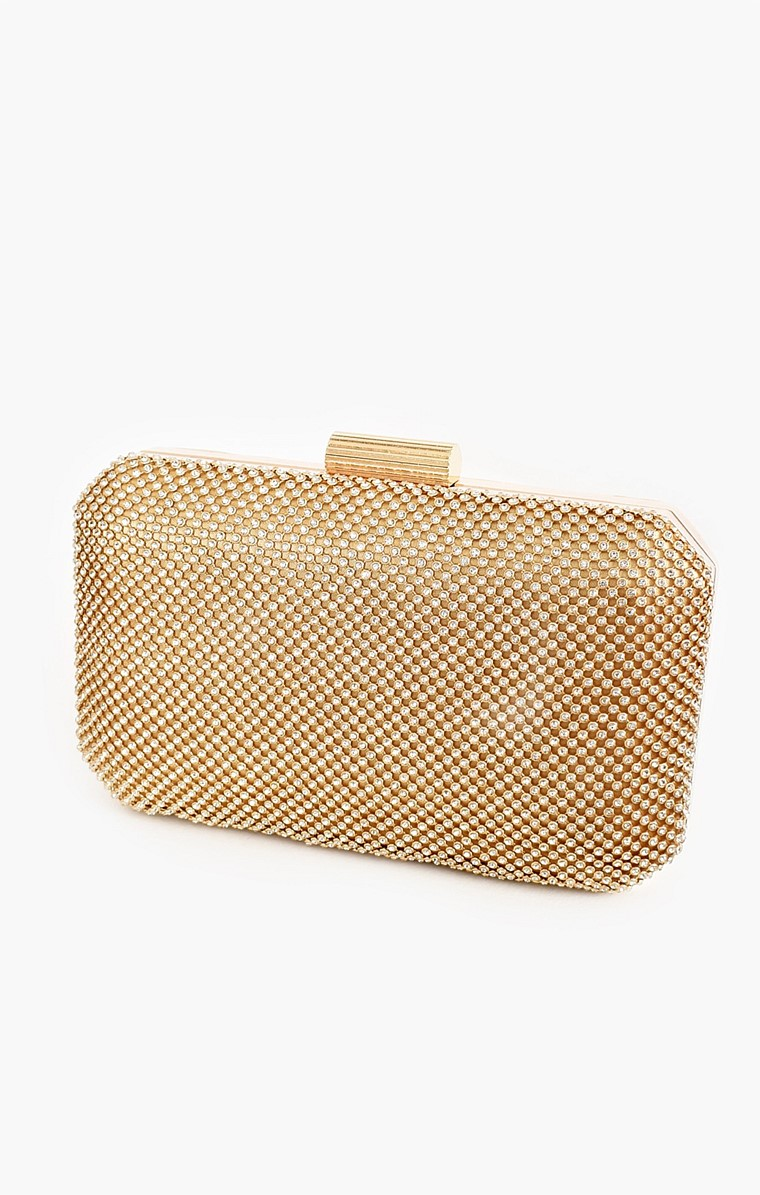 DIAMANTE MESH STRUCTURED CLUTCH IN GOLD CRYSTAL