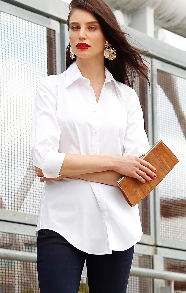 3/4 SLEEVE BUTTON DOWN COLLARED COTTON SHIRT IN WHITE