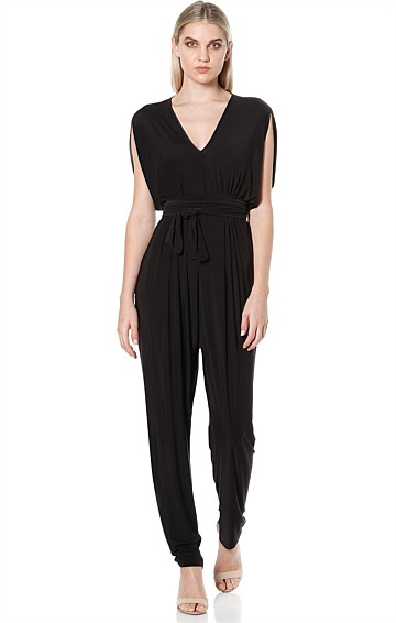 SOLANGE LOOSE FIT V-NECK STRETCH JERSEY JUMPSUIT IN BLACK