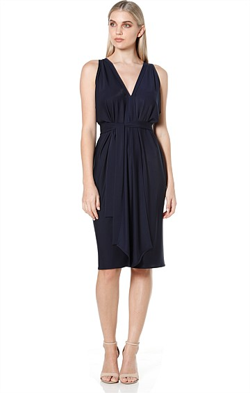 COLUMN DRAPE REVERSIBLE SLEEVELESS KNEE LENGTH DRESS IN NAVY