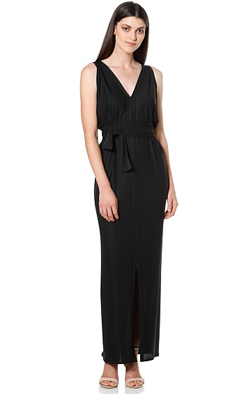 COLUMN DRAPE REVERSIBLE SLEEVELESS MAXI DRESS IN BLACK