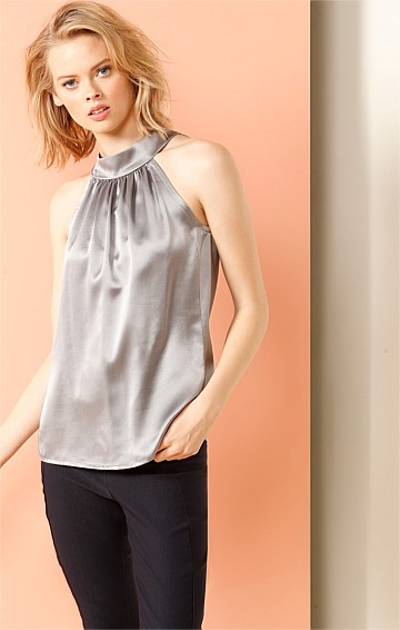 BELVEDERE SILK SATIN SLEEVELESS HIGH NECK TIE TOP IN SILVER