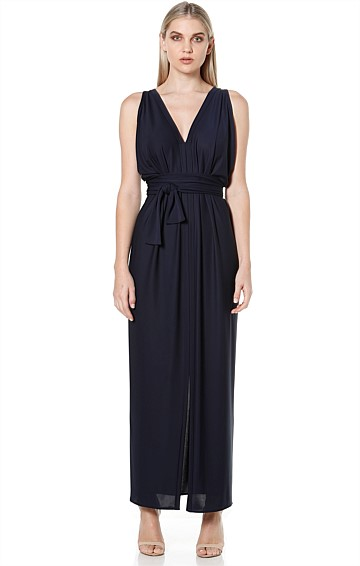 COLUMN DRAPE REVERSIBLE SLEEVELESS MAXI DRESS IN NAVY