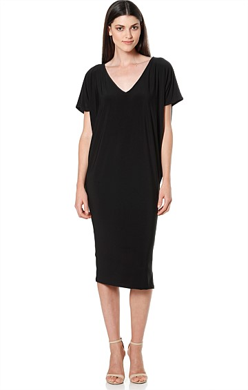 NAT BATWING REVERSIBLE STRETCHY JERSEY DRESS IN BLACK