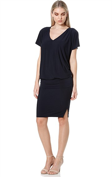 NAT BATWING REVERSIBLE STRETCHY JERSEY DRESS IN NAVY