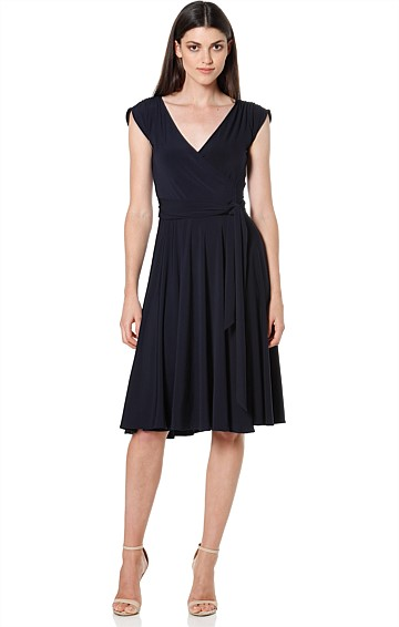 WRAP CAP SLEEVE FULL SKIRT KNEE LENGTH JERSEY DRESS IN NAVY