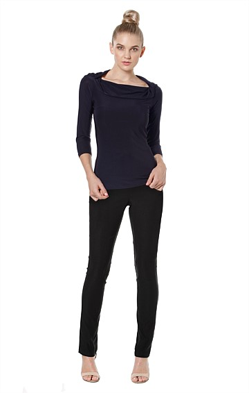 KISS THE GUIDE 3/4 SLEEVE OFF THE SHOULDER COWL NECK JERSEY TOP IN NAVY