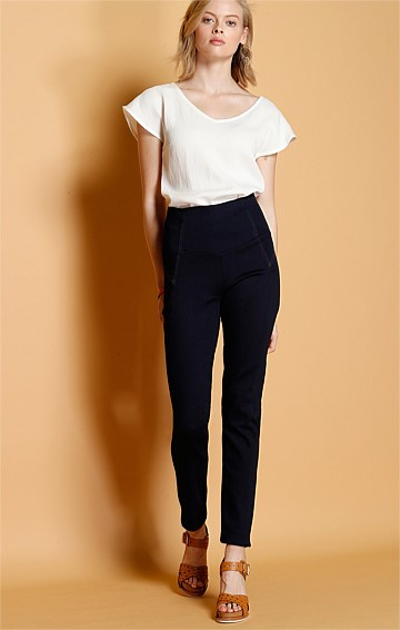 SKINNY HIGH WAIST STRETCH PULL ON JEANS IN INDIGO DENIM