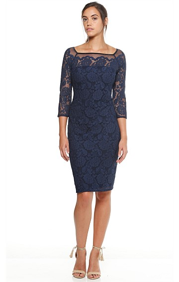 OBSIDIAN EMPRESS FITTED 3/4 SLEEVE EMBROIDERED LACE DRESS IN NAVY