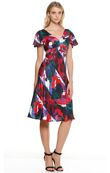 AUSTRIAN COPPER ROSE FLUTED SLEEVE A-LINE KNEE LENGTH DRESS IN RED MULTI FLORAL PRINT