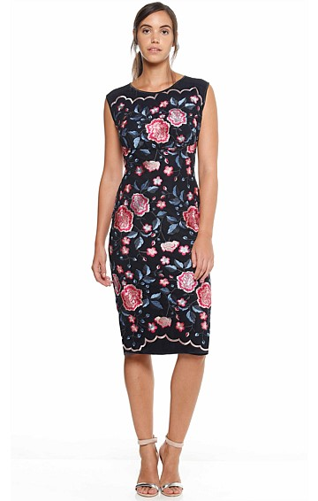 PETUNIA NO.2 FITTED FLORAL EMBROIDERED MESH DRESS IN NAVY PINK