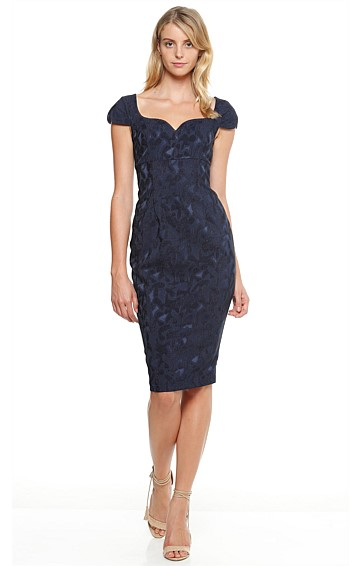 O'KEEFE CAP SLEEVE FITTED TEXTURED PENCIL DRESS IN NAVY BROCADE