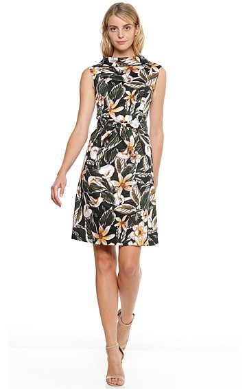 CALLA LILY PRINTED COTTON HIGH NECK SLEEVELESS DRESS IN WHITE LILY PRINT