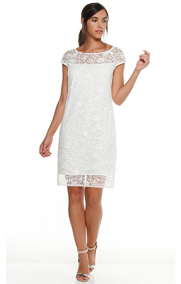 CAMELIA ABOVE KNEE LACE TUNIC SHIFT DRESS IN WHITE