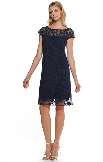 CAMELIA ABOVE KNEE LACE TUNIC SHIFT DRESS IN NAVY