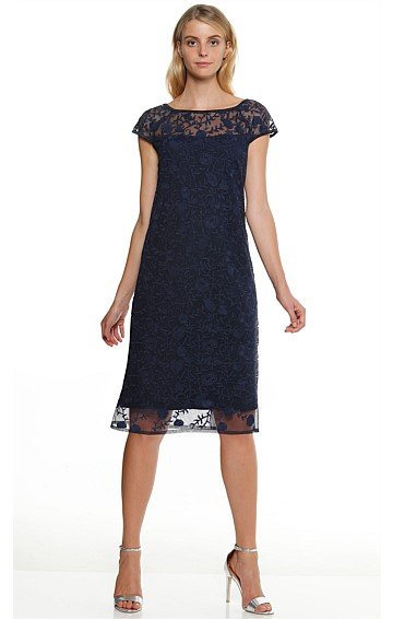 CAMELIA KNEE LENGTH LACE TUNIC SHIFT DRESS IN NAVY