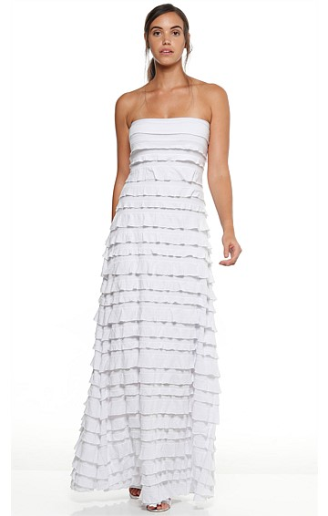 MADDISON STRAPLESS LONG RUFFLE STRETCH MAXI DRESS IN WHITE