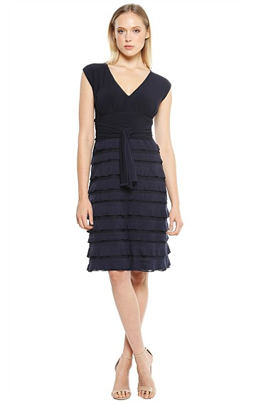 V-NECK RUFFLE STRETCH KNEE LENGTH COCKTAIL DRESS IN NAVY