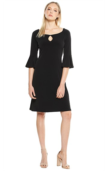 FLUTE SLEEVE KNEE LENGTH STRETCH JERSEY TUNIC DRESS IN BLACK