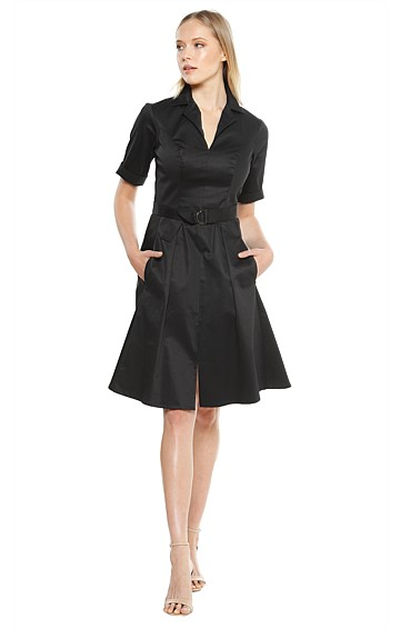 MARDIE 3/4 SLEEVE COTTON FIT AND FLARE PLEATED A-LINE DRESS IN BLACK