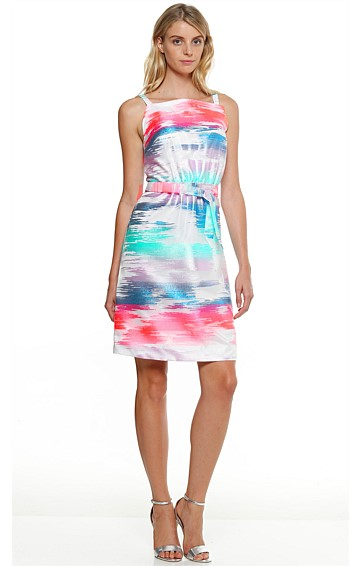SKY ABOVE CLOUDS SLEEVELESS KNEE LENGTH GATHERED WAIST DRESS IN PINK BLUE PRINT